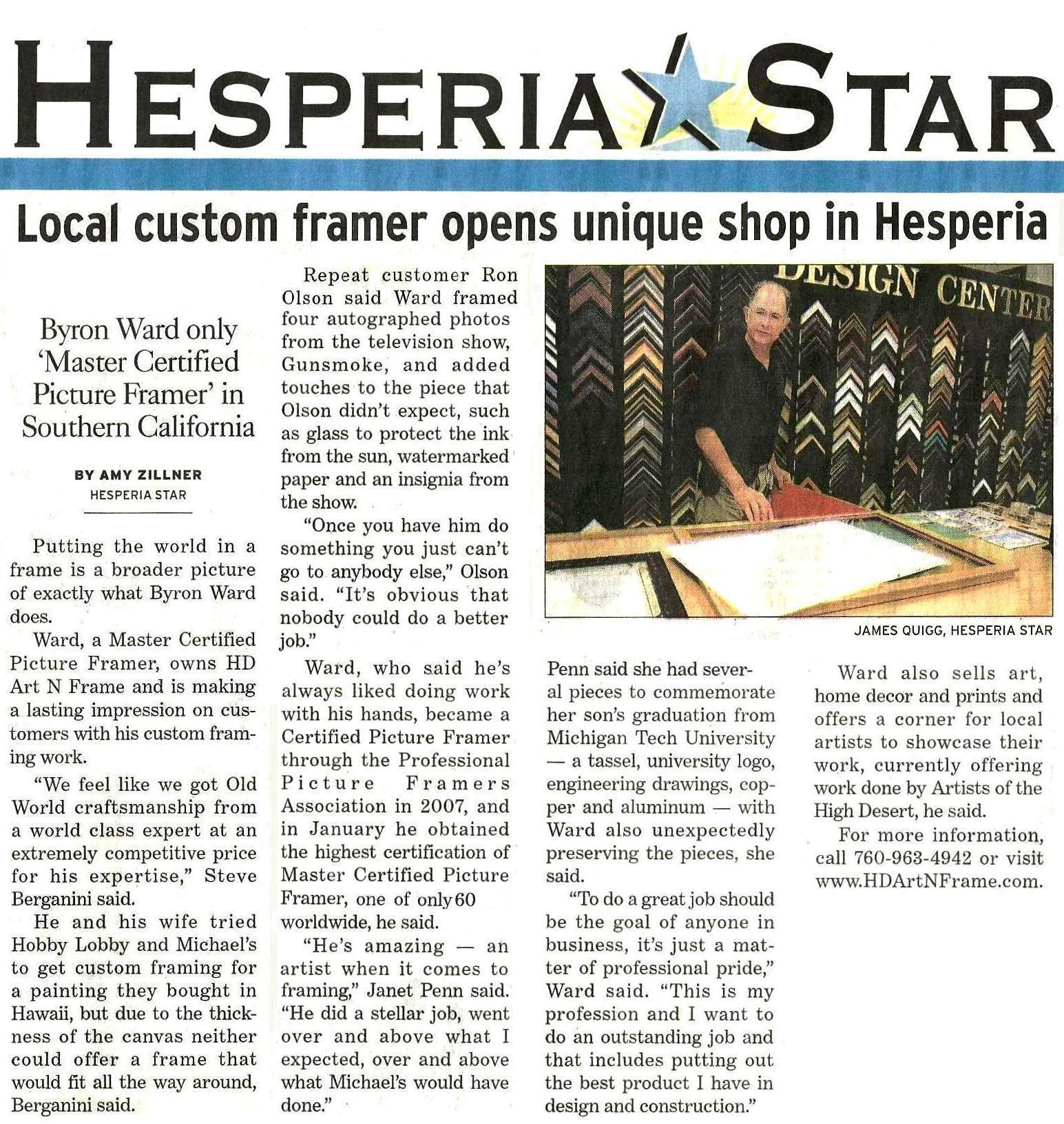 Hesperia Star Article JAN 14